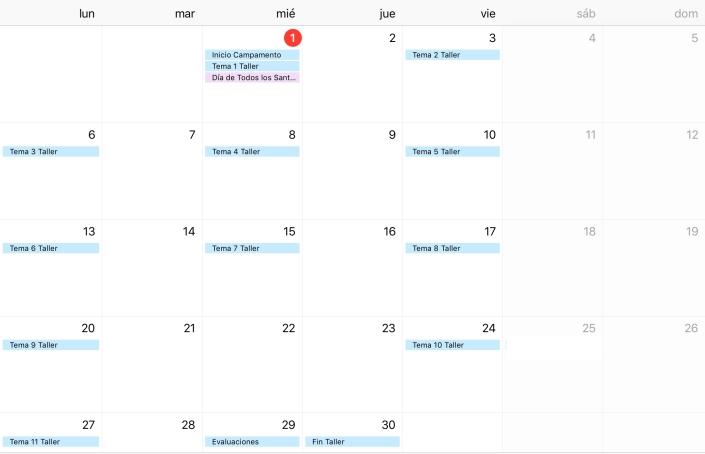 Calendario Campamento